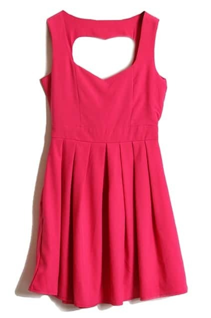 Hollowed Heart Back Rose Dress