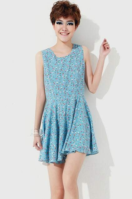 Rural Retro Hollow Back Blue Dress