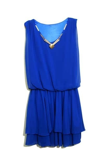 Necklace Detailed Layered Skirt Blue Dress