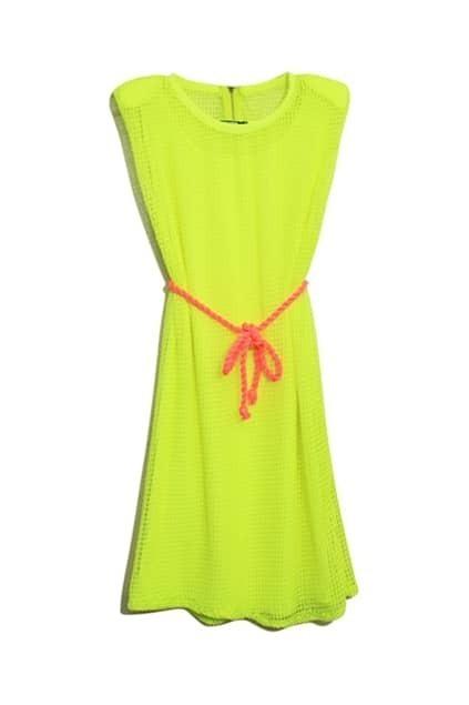 Net Overlay Bright Yellow Belted Dress