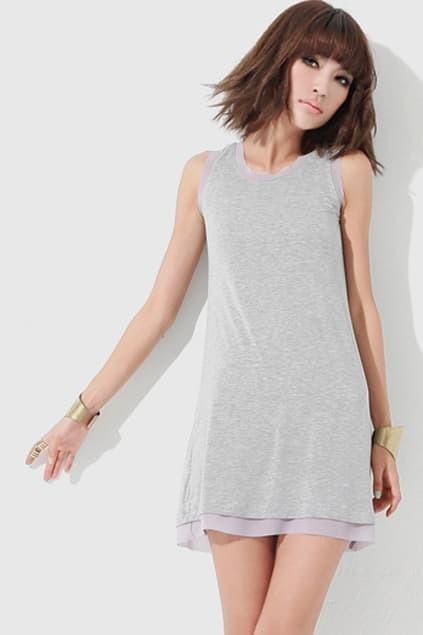 Splicing Chiffon Grey Dress