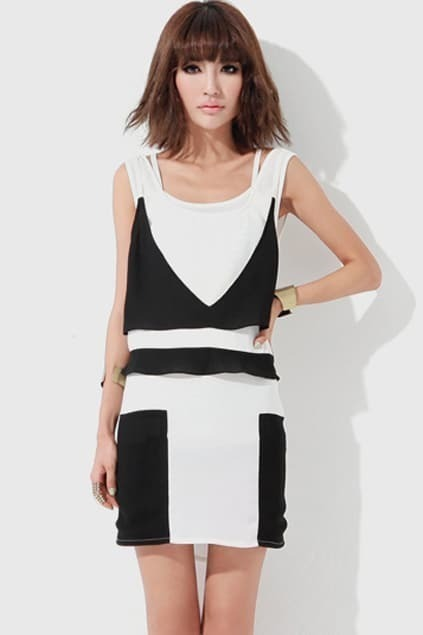 Geometric Draping Halter White Dress