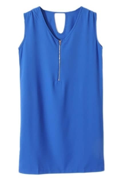 V-neck Fitted Zip Blue Tank Dress