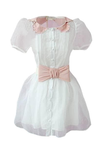Puff Sleeve Bowknot White Dress