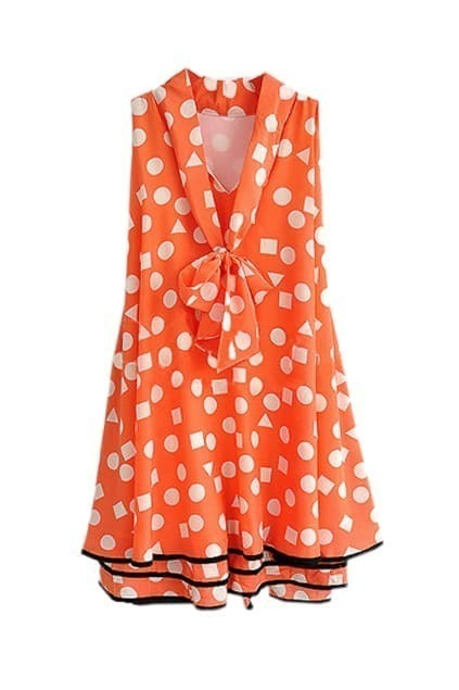 White Dots Falbala Hems Orange Dress