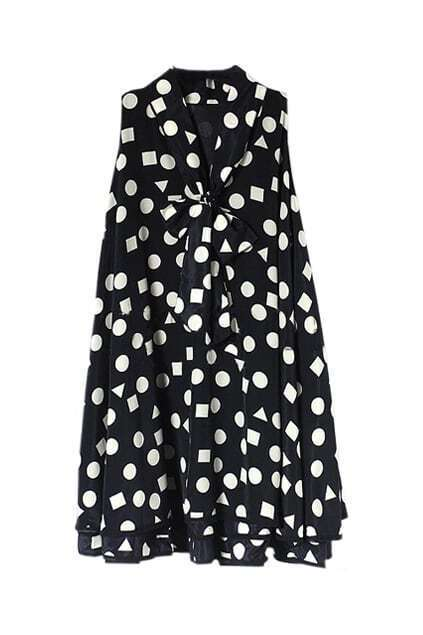 White Dots Falbala Hems Black Dress