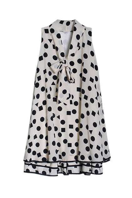 Black Dots Falbala Hems Cream Dress