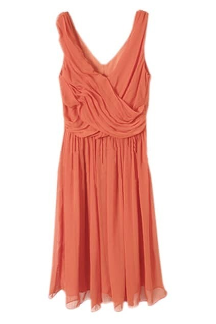 Orange Red V-shape Chiffon Dress