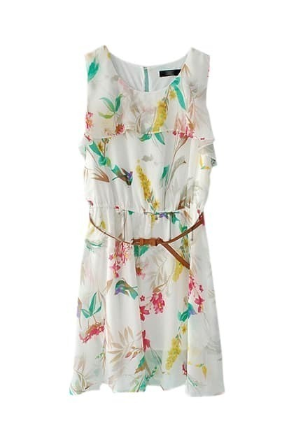 Flower Printed White Chiffon Dress