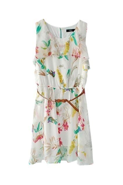 Flower Printed White Chiffon Dress