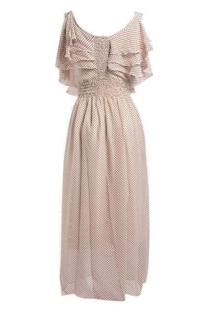 High Waist Cream Chiffon Dress