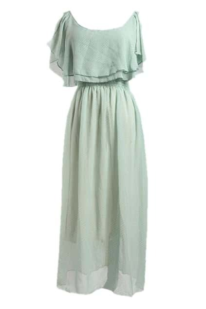 High Waist Green Chiffon Dress