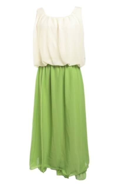 Cream And Green Contrast Chiffon Dress
