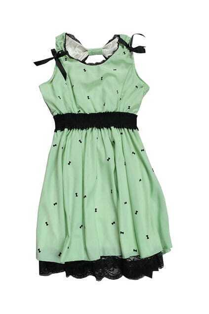 Lace Bottom Bowknot Light Green Dress