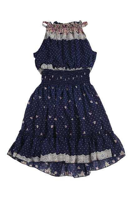 Flower Printed Bouffancy  Navy Blue Dress