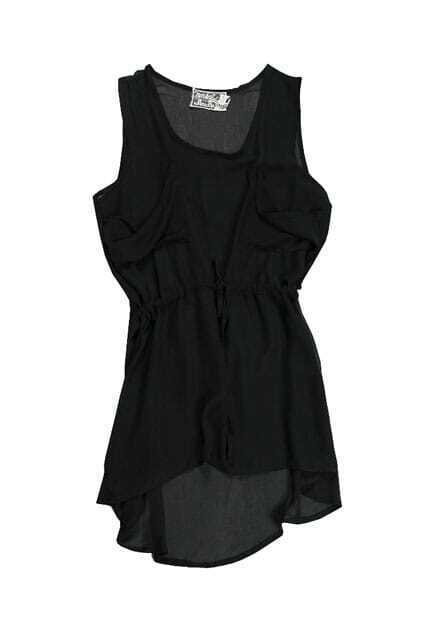 Black Pockets Chiffon Dress