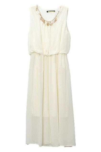 Pure Cream Color Chiffon Dress