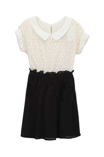 Crochet Lace Upper Black Shift Dress
