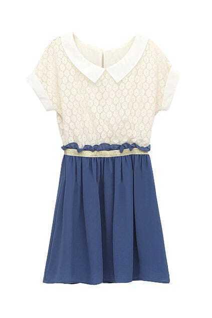 Crochet Lace Upper Blue Shift Dress
