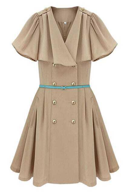 Double Buttons Cream Peats Dress