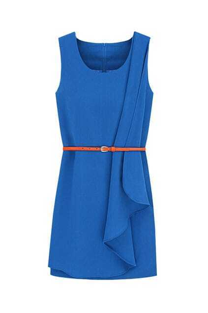 Irregular Pleats Blue Dress