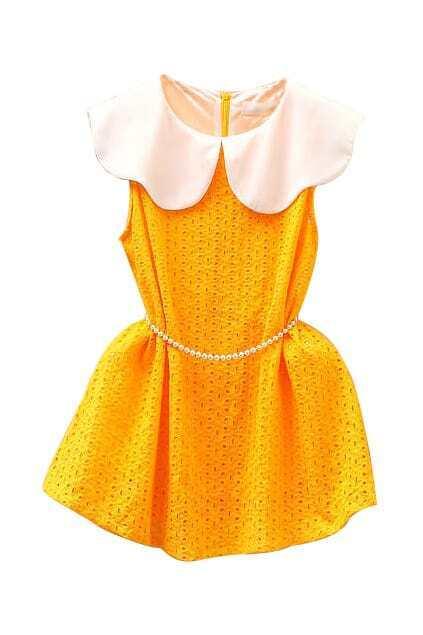 Hollow Petal Yellow Dress