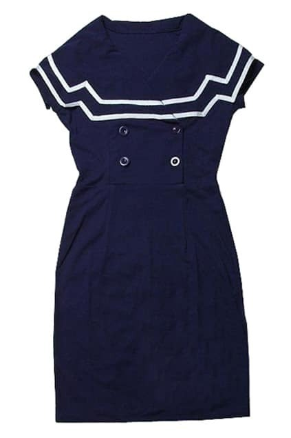 Navy Style Slim Dark-blue Dress