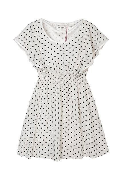 Lotus Sleeve Dots Cream-colored Dress