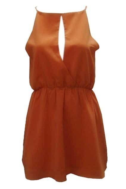 Boat Neckline Orange Chiffon Dress