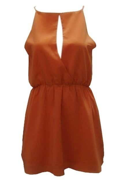 Boat Neckline Orange Chiffon Dress