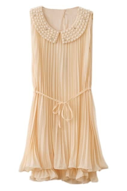 Beaded Neckline Beige Chiffon Dress