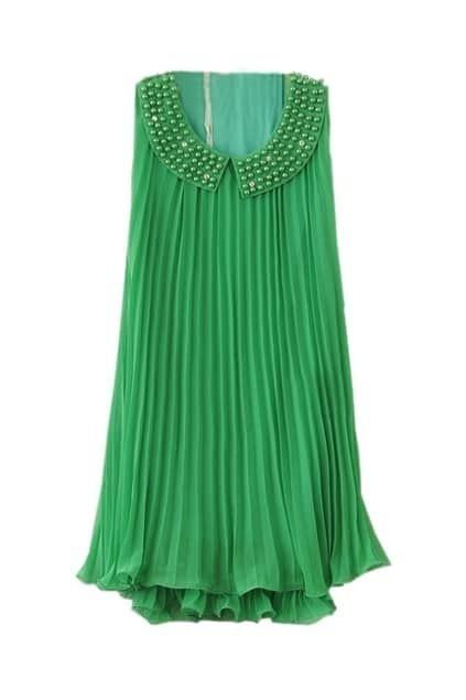 Beaded Neckline Green Chiffon Dress