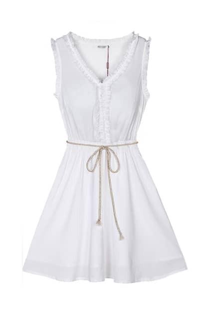 Agaric Edge White Tank Dress