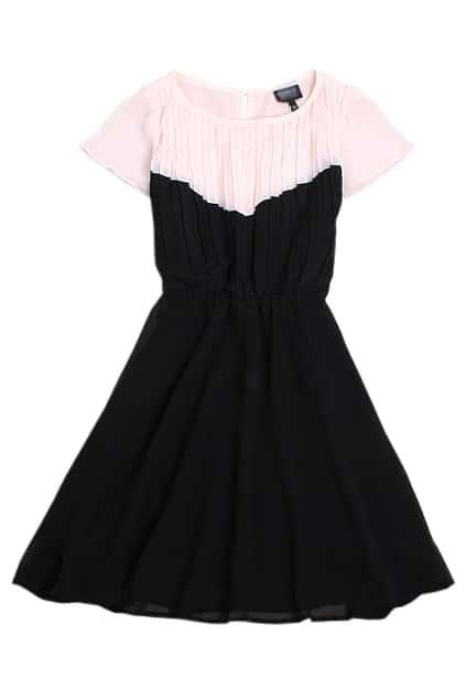 Elasticated Controlled Waist Black Dress