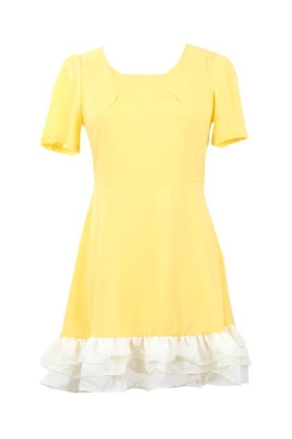 Puff Sleeves Falbala Hem Yellow Dress