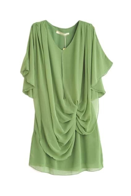 Pleated Detailing Green Chiffon Dress