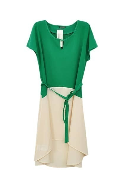 Contrast color green chiffon dress - Contrast with green colour ...