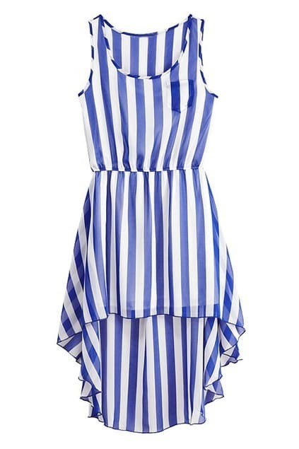 Sleeveless Asymmetric Hem Stripes Blue-white Dress