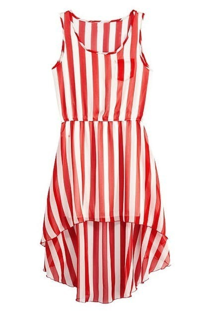 Sleeveless Asymmetric Hem Stripes Red-white Dress
