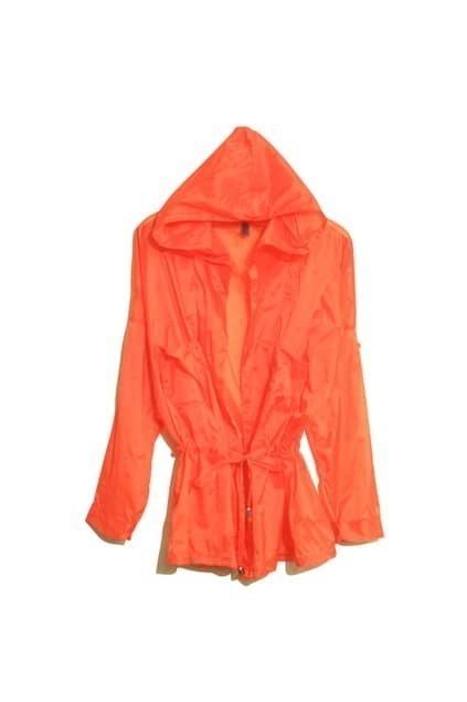 Drawstring Detialed Orange Hooded Coat