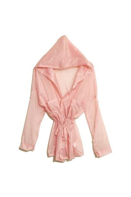 Drawstring Detialed Pink Hooded Coat