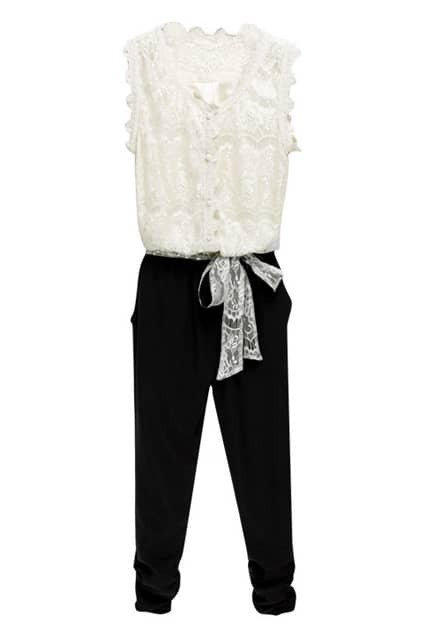 Lace Design Cropped Jumpsuit