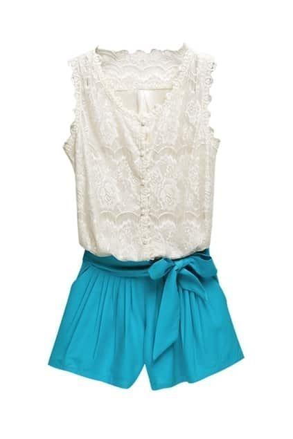 Floral Lace Upper Blue Jumpsuit