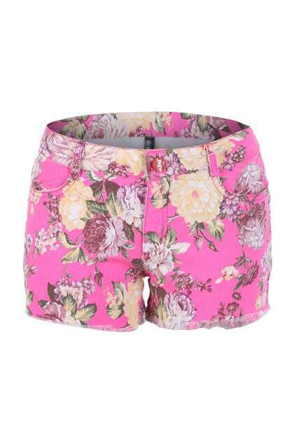 Feminine Floral Print Shorts