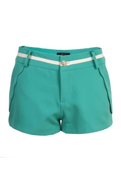Wave Hem Green Shorts