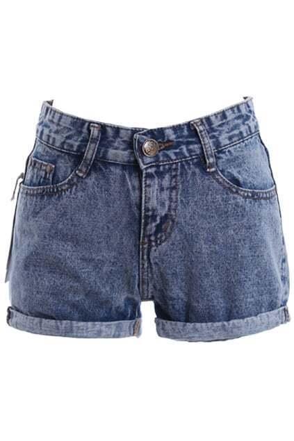 Snowflake Crimping Denim Shorts