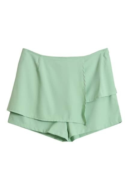 Anomalous Front Green Chiffon Shorts