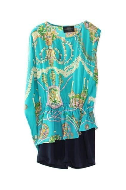 Floral Print Asymmetric Blue Jumpsuit