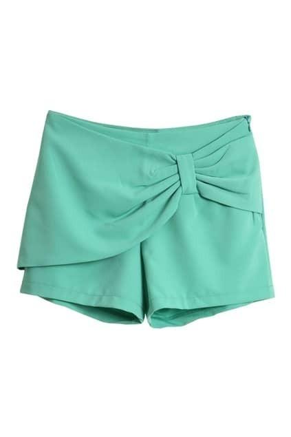 Bowknot Embellishment Green Shorts