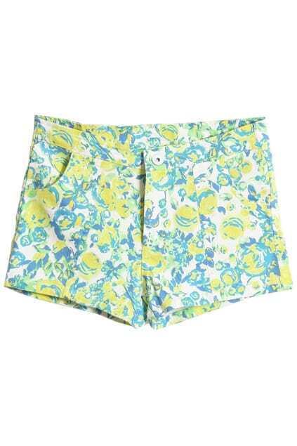 Low Waist Fluorescence Green Shorts